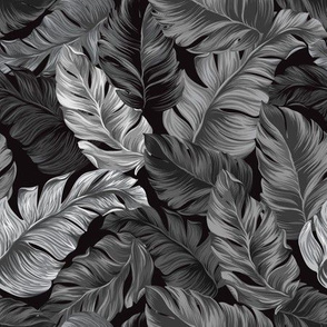 Tropical Leaves, Black and White, Banana Leaves on Black