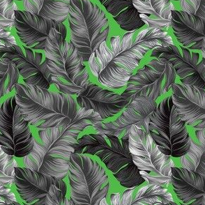 Tropical Leaves, Banana Leaves on Lime Green