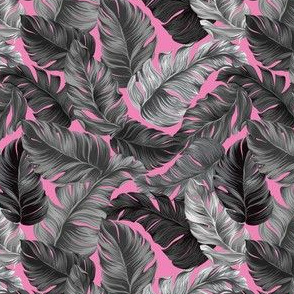 Tropical Leaves, Banana Leaves on Pink