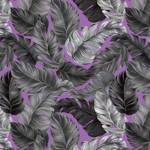 Tropical Leaves, Banana Leaves on Purple