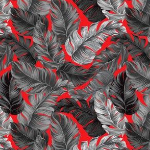 Tropical Leaves, Banana Leaves on Red