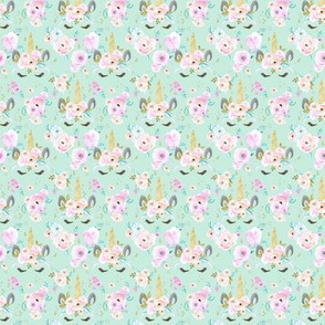 unicorn floral XXS - mint