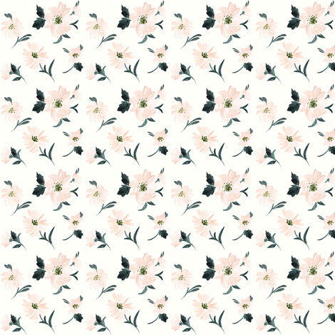 Blush Sunflower_white small fabric by crystal_walen on Spoonflower - custom fabric