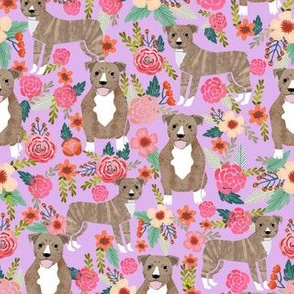 pitbull brindle purple dog breed fabric florals
