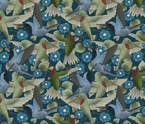 Hummingbird Charm fabric by washburnart on Spoonflower - custom fabric