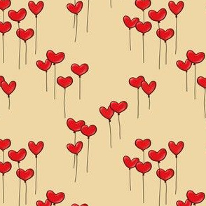 Heartshaped Red Balloons with Strings on Golden Background