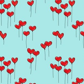 Heartshaped Red Balloons with Strings on lightblue background