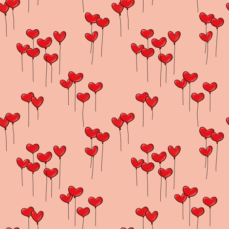 Heartshaped Red Balloons with Strings on pink fabric by pinmintprint on Spoonflower - custom fabric