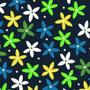 Simple Scandinavian Folk Art Floral Pattern   Spring Green