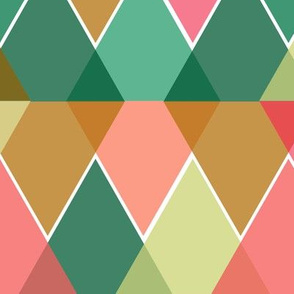 Reflected Triangles Geometric Pattern - Pink, Turquoise & Browm