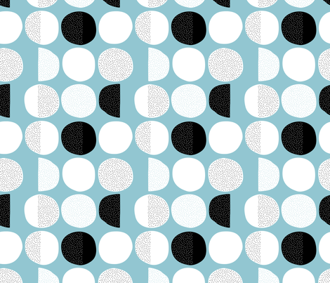 Abstract moon cycle Scandinavian minimal retro circle design blue fabric by littlesmilemakers on Spoonflower - custom fabric