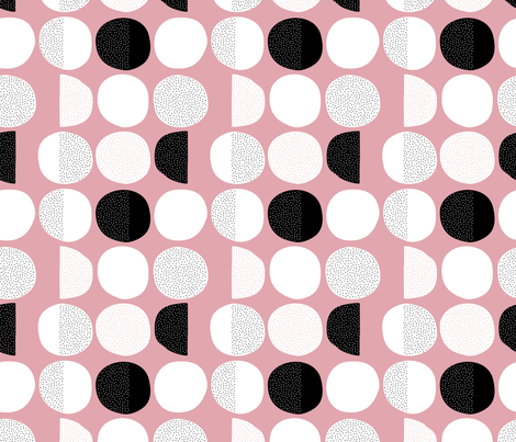 Abstract moon cycle Scandinavian minimal retro circle design pink fabric by littlesmilemakers on Spoonflower - custom fabric