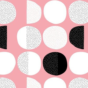 Abstract moon cycle Scandinavian minimal retro circle design pink