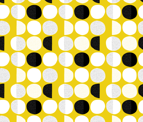 Abstract moon cycle phase Scandinavian minimal retro circle design gender neutral yellow fabric by littlesmilemakers on Spoonflower - custom fabric