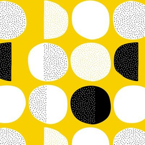 Abstract moon cycle phase Scandinavian minimal retro circle design gender neutral yellow