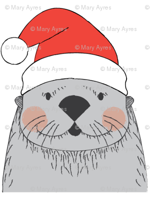 grey otters with santa hats
