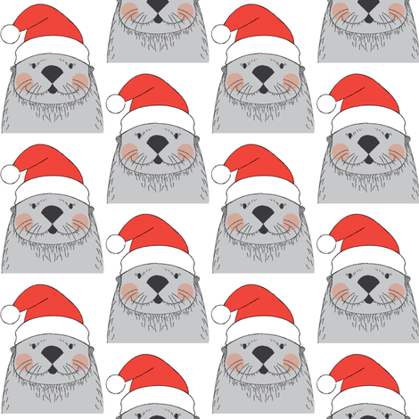grey otters with santa hats fabric by lilcubby on Spoonflower - custom fabric