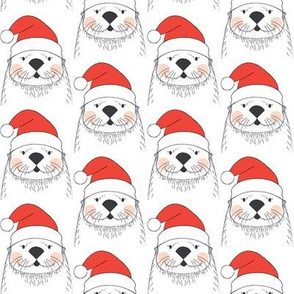 white otters with santa hats