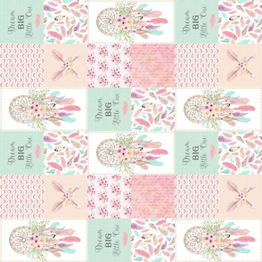 """3"""" Dream Catcher Patchwork Quilt Top (rotated) – Patchwork Wholecloth for Girls Baby Blanket Nursery Bedding"""
