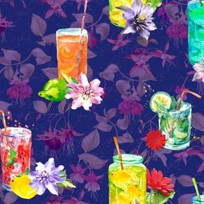 watercolor summer fruity drink purple