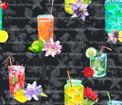 watercolor summer fruity drink cocktail dark grey black