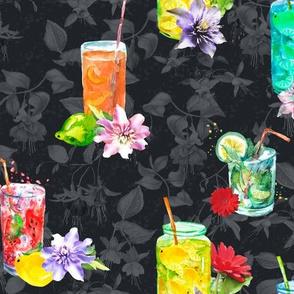 watercolor summer fruity drink cocktail dark grey black