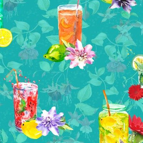 watercolor summer fruity drink teal turquoise