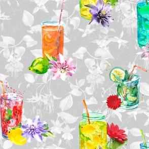 watercolor summer fruity drink coktails lemonade light grey white