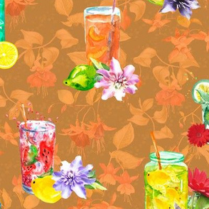 watercolor summer fruity drink marigold orange