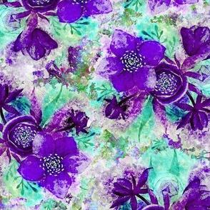 dreamy watercolor hellebore purple ultra violet turquoise aqua mint