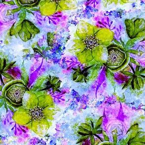 dreamy watercolor hellebore purple aqua green periwinkle blue