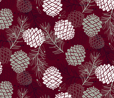 Pine Cone, Branch and Seed  fabric by marketa_stengl on Spoonflower - custom fabric