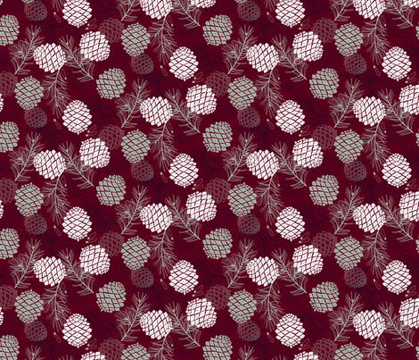 Pine Cone, Branch and Seed small scale fabric by marketa_stengl on Spoonflower - custom fabric