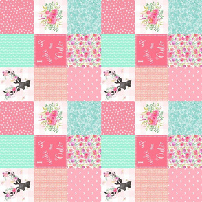 "3 "" Deer Floral Patchwork Quilt (rotated) Wholecloth I Woke Up This Cute - Ashburton Coordinate for Girls GingerLous"