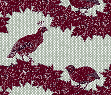 Quail Holiday Pair black eyes fabric by agregorydesigns on Spoonflower - custom fabric