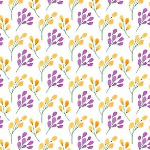 Watercolor Spring Summer Flowers Orange and Purple