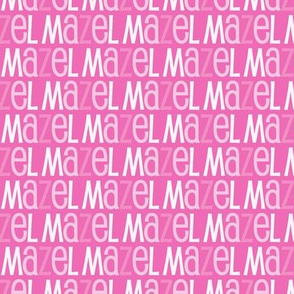 Mazel Tov Blue Letters on Pink Background