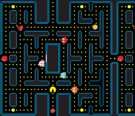 Pacman Retro Video Game Pattern EXTRA LARGE fabric by khaus on Spoonflower - custom fabric
