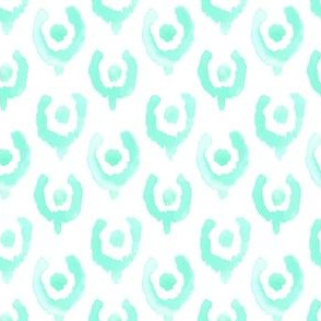 Mint Green Ikat Watercolor Abstract Floral Tulip Horse Shoe White  _ Miss Chiff Designs