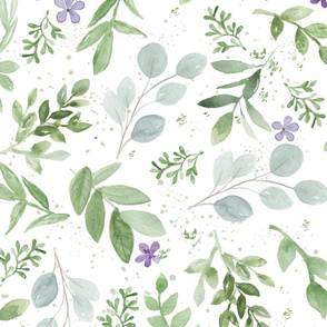 Watercolor Lavender and Greenery Pattern