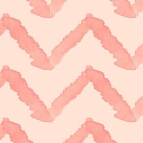 Jumbo Coral Peach Blush Pink Chevron Watercolor _ Miss Chiff Designs