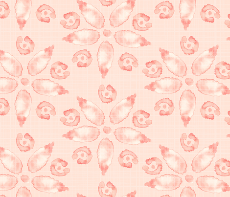 18-08A Jumbo Watercolor Floral Peach Coral Pink Blush Linen Texture _ Miss Chiff Designs  fabric by misschiffdesigns on Spoonflower - custom fabric
