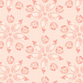 Jumbo Watercolor Floral Peach Coral Pink Blush Linen Texture _ Miss Chiff Designs