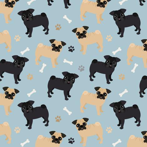 Pug Dogs Blue fabric by jannasalak on Spoonflower - custom fabric