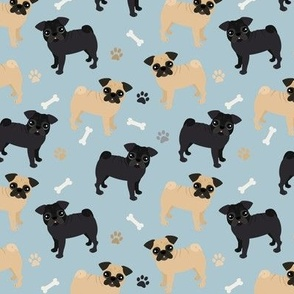 Pug Dogs Blue