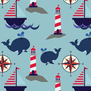 Whales, Lighthouses and Sailboats