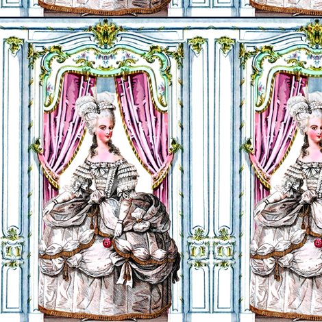 Marie Antoinette queen france french palace baroque rococo royal portraits white gowns gloves victorian elegant gothic curtains doors floral lolita egl pouf 18th century Bouffant historical  border frame ballgowns neoclassical princesses royalty versaille fabric by raveneve on Spoonflower - custom fabric