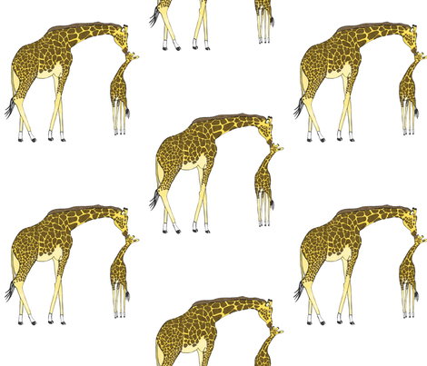 Giraffe Kisses fabric by jvclawrence on Spoonflower - custom fabric