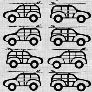 Surfer Jeeps on Gray Texture