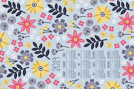 2019 Garden Joy Tea Towel Calendar fabric by robyriker on Spoonflower - custom fabric